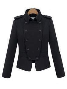 Black Lapel Double Breasted Punk Cotton Coat