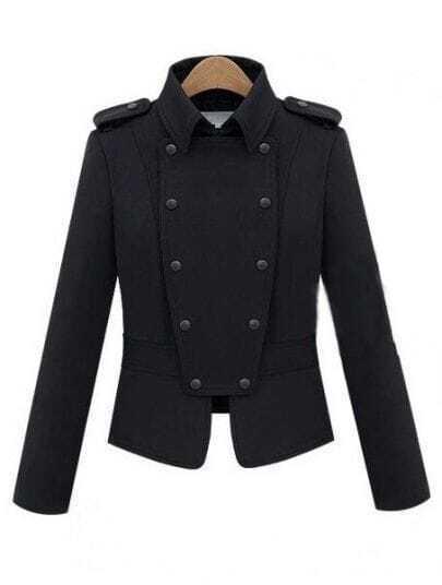 Black Lapel Double Breasted Punk Cotton Coat