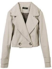 Grey Notch Lapel Double Breasted Crop Coat