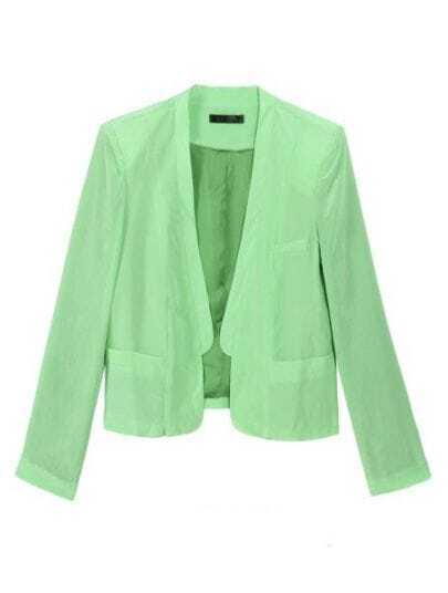 Green Collarless Pockets Silk Crop Coat