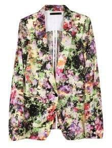 Multi Draped Collar Floral Single Button Coat