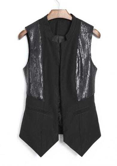 Black High Neck Sleeveless Sequined Vests