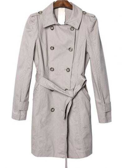 Apricot Double Breasted Drawstring Waist Trench Coat