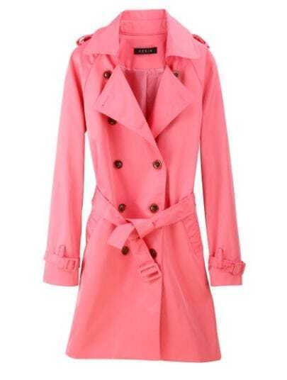 Rose Red Double Breasted Polyester Trench Coat