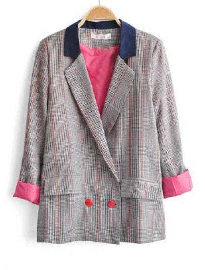 Grey Plaid Notch Lapel Double Breasted Pockets Suit