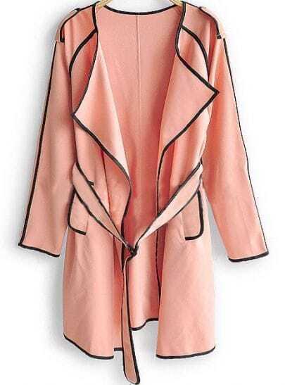 Pink Drawstring Waist Pockets Trench Coat