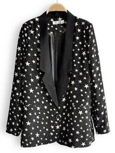 Black Notch Lapel Single Button Stars Print Suit