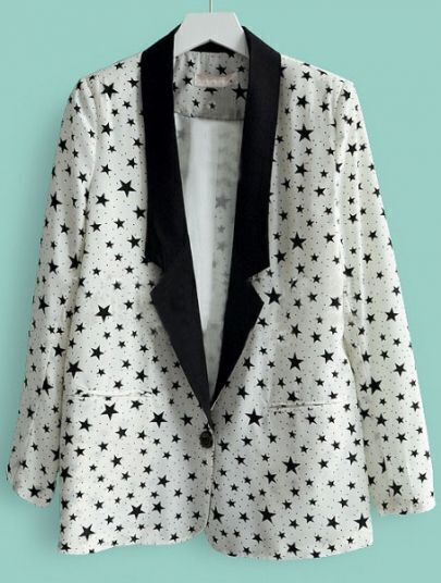 White Notch Lapel Single Button Stars Print Suit