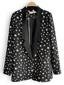 Black Notch Lapel Single Button Stars Print Suit
