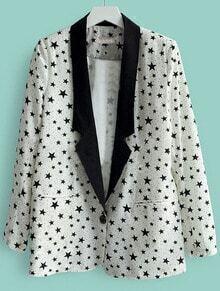 White Notch Lapel Single Button Stars Print Suit
