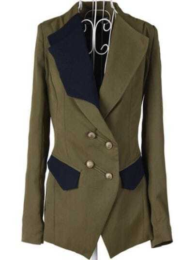 Army Green Double Breasted Pockets Cotton Suit