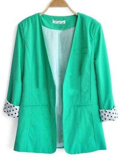 Green V Neck Single Button Loose Pockets Suit