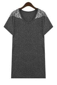 Grey Polyester Short Sleeve Sequined Embellished Shirt