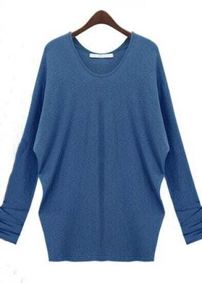 Blue Cotton Long Sleeve Oversized Shirt