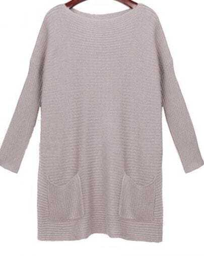 Light Lilac Boat Neck Long Sleeve Double Pockets Sweater