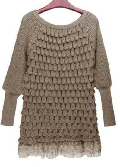 Khaki Long Sleeve Lace Hem Tiered Loose Sweater