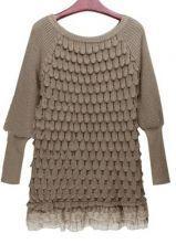 Khaki Long Sleeve Lace Hem Tiered Loose Sweater