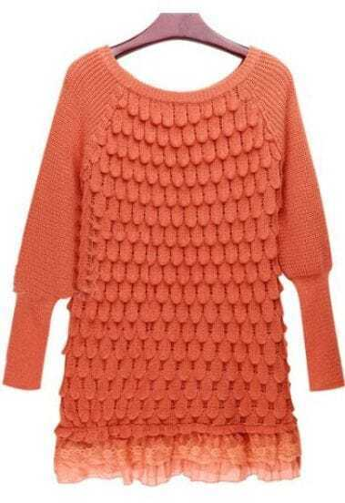 Orange Long Sleeve Lace Hem Tiered Loose Sweater