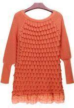 Orange Long Sleeve Lace Hem Tiered Loose Sweater