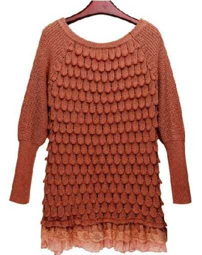 Brown Long Sleeve Lace Hem Tiered Loose Sweater