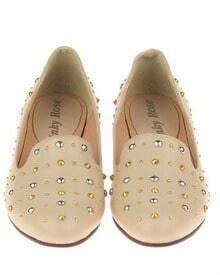 Beige Studded Embellished Round Toe Oxford Flat