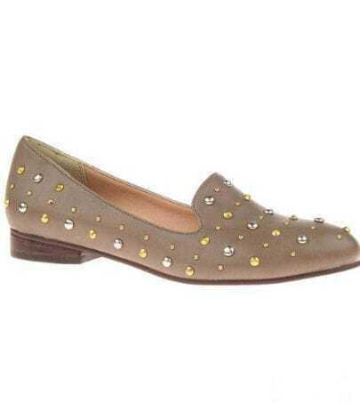 Grey Studded Embellished Round Toe Oxford Flat