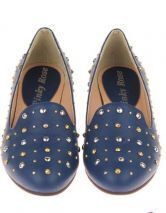 Blue Studded Embellished Round Toe Oxford Flat