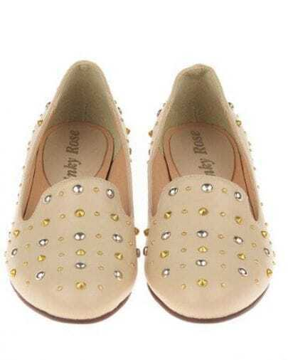 Beige Studded Embellished Round Toe Oxford Flat