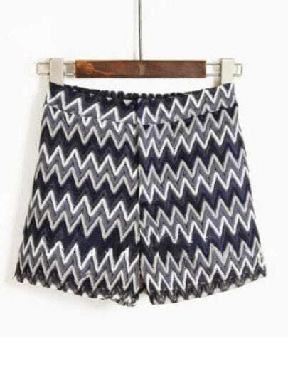 Grey Navy Zigzag Striped Print Straight Shorts