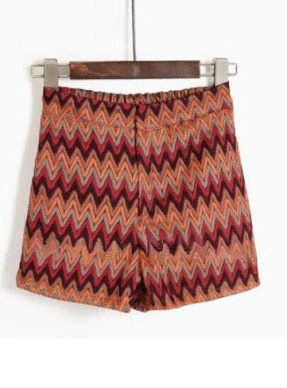 Red Orange Zigzag Striped Print Straight Shorts