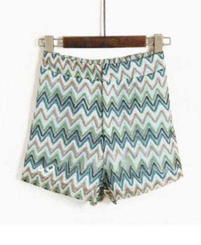 Blue White Zigzag Striped Print Straight Shorts