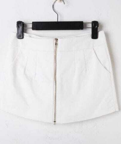 White Cotton Zip Front Pockets Skirt Shorts