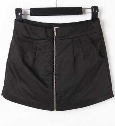 Black Cotton Zip Front Pockets Skirt Shorts
