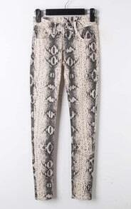 Sliver Cotton Blends Snake Print Pockets Pant