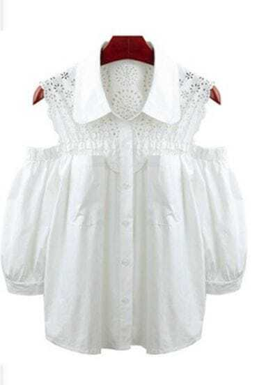 White Eyelet Lace Cut Out Shoulder Puff Sleeve Blouse