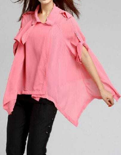 Pink Tabs Shoulder Asymmetric Chiffon Rolled Sleeve Blouse