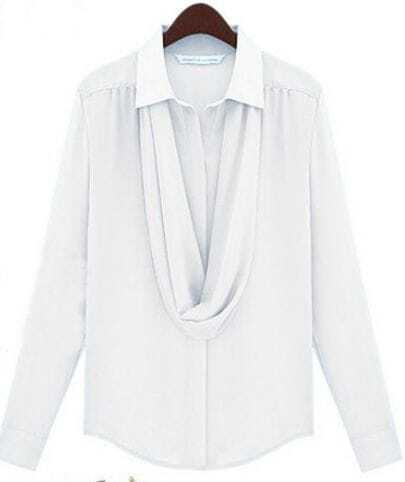 White Lapel Long Sleeve Draped Front Blouse