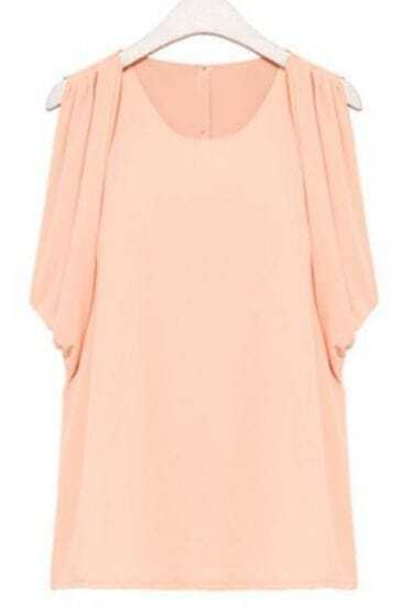 Pink Button Back Draped Sleeveless Chiffon Blouse