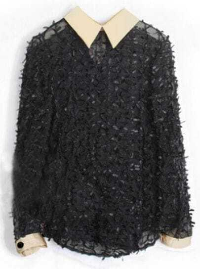 Black Lace Bow Contrast Collar Long Sleeve Mesh Sheer Blouse