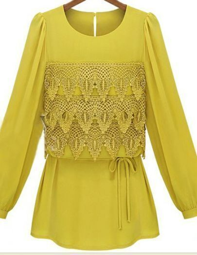 Turmeric Eyelet Tiered Flower Lace Front Drawstring Long Sleeve Blouse