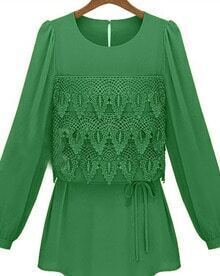 Green Eyelet Tiered Flower Lace Front Drawstring Long Sleeve Blouse