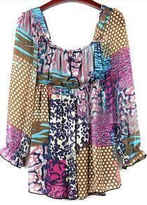 Colorful Patchwork Print Suquare Neck Chiffon Tunic Blouse