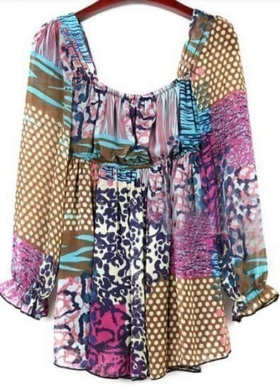 Colorful Patchwork Print Suquare Neck Chiffon Tunic Blouse