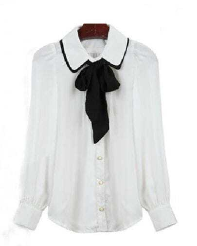 White Pussybow Neck Long Sleeve Pintucks Front Blouse