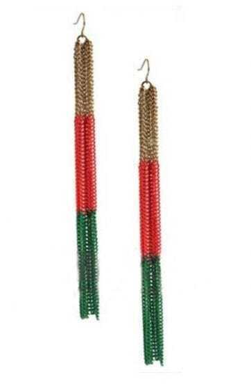 Three Colors Long Tassel Dangle Earrings