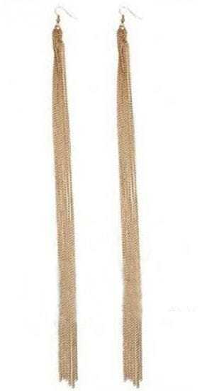 Gold Long Tassel Dangle Earrings