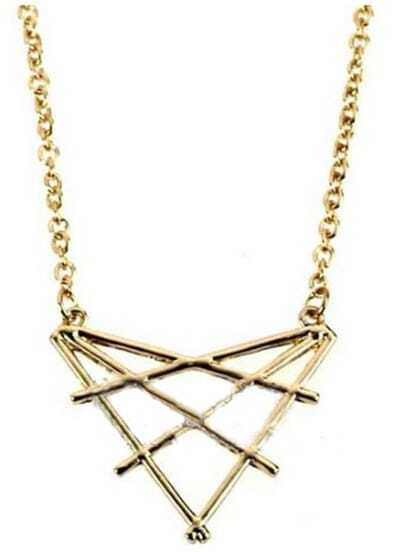 Gold Overlap Triangles Necklace