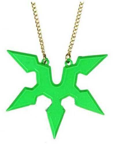 Fluorescent Green Ninja Dart Long Necklace