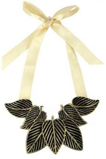 Black Leaves Scalable Tie Necklace