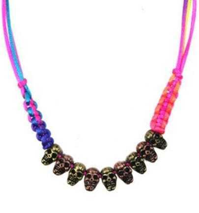 Colored Rope Skulls Necklace